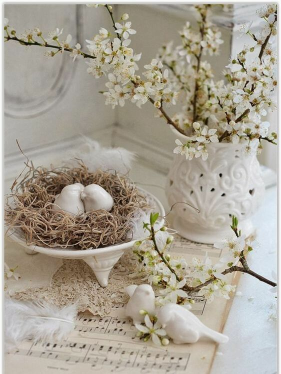 apple blossoms center piece